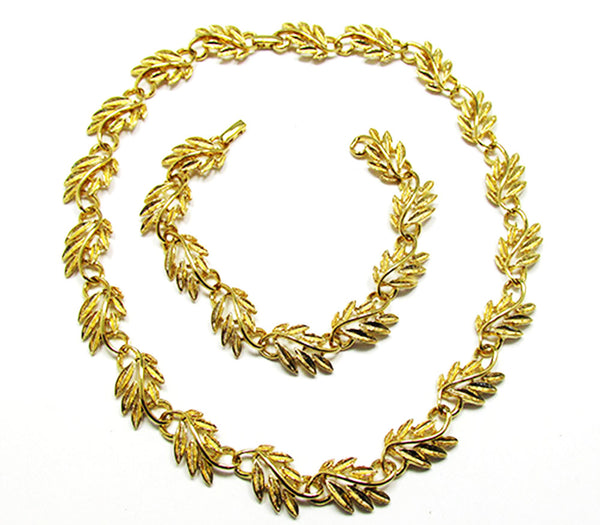 Napier 1960s Vintage Jewelry Gorgeous Leaf Necklace and Bracelet - Front