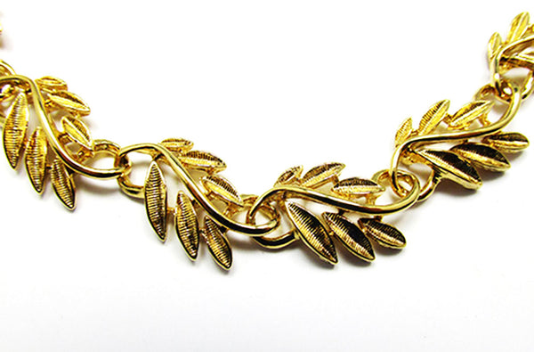 Napier 1960s Vintage Jewelry Gorgeous Leaf Necklace and Bracelet - Close Up