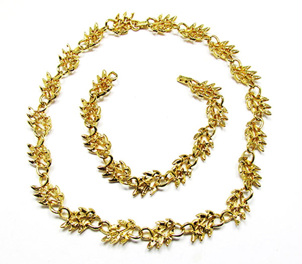 Napier 1960s Vintage Jewelry Gorgeous Leaf Necklace and Bracelet - Back