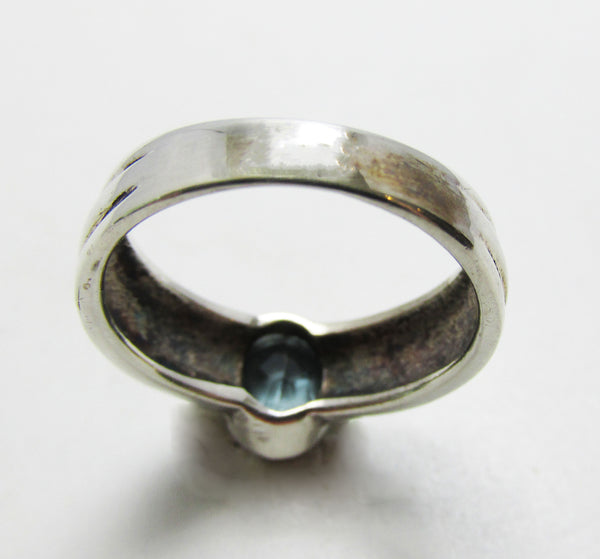 Dazzling Vintage Retro Contemporary Style Blue Topaz Fashion Ring