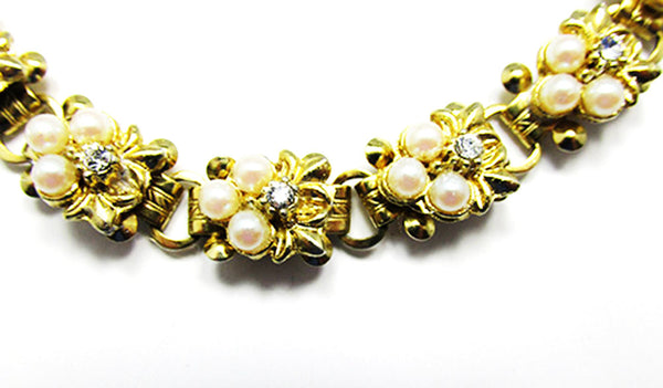 Vintage 1950s Jewelry Dainty Mid-Century Pearl and Diamante Bracelet - Close Up
