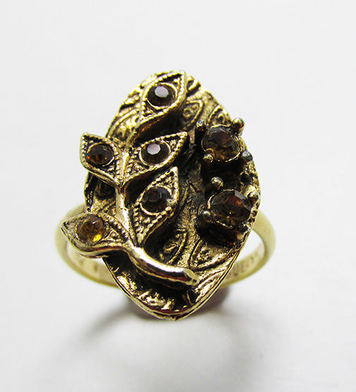 Vogue Vintage 1950s Attractive Topaz Rhinestone Floral Ring
