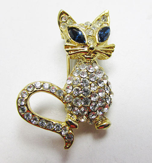Sarah Coventry Vintage 1970s Adorable Figural Rhinestone Cat Pin