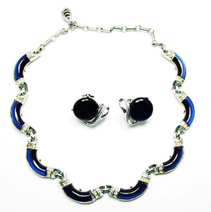 Coro 1950s Vintage Jewelry Navy Diamante Necklace and Earrings Set - Front