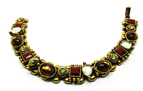 Vintage Jewelry 1940s Citrine, Carnelian, and Topaz Diamante Bracelet - Front