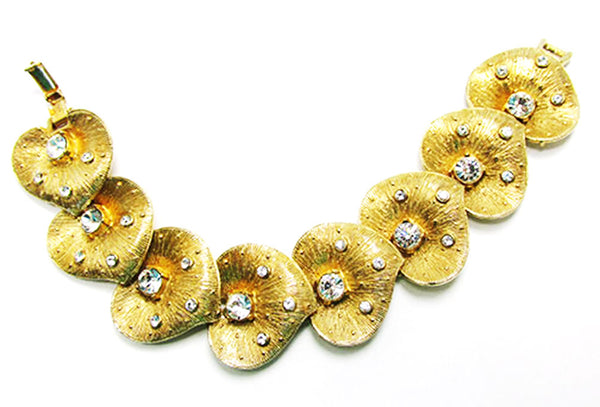 Vintage 1950s Jewelry Eye-Catching Mid-Century Diamante Leaf Bracelet - Front