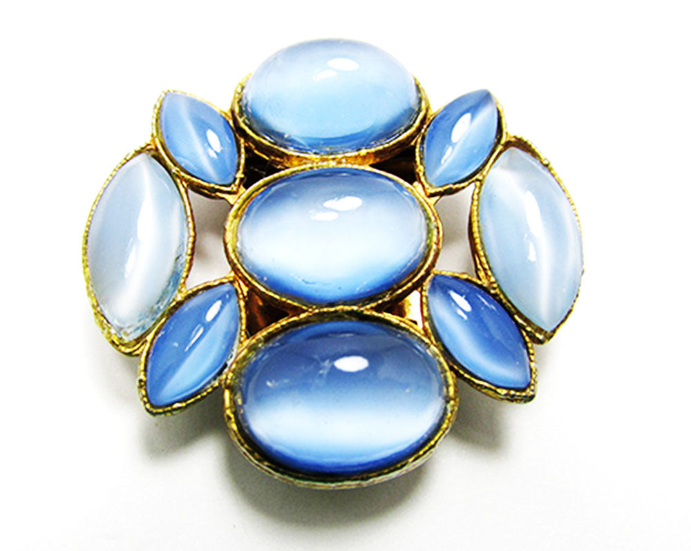 Vintage 1940s Beautiful Blue Moonstone Cabochon Retro Dress Clip