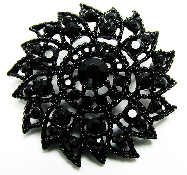 Vintage Mid Century 1950s Striking Black Floral Pin and Earrings Set