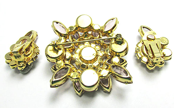 Vintage Jewelry 1950s Mid-Century Diamante Floral Pin and Earrings Set - Back