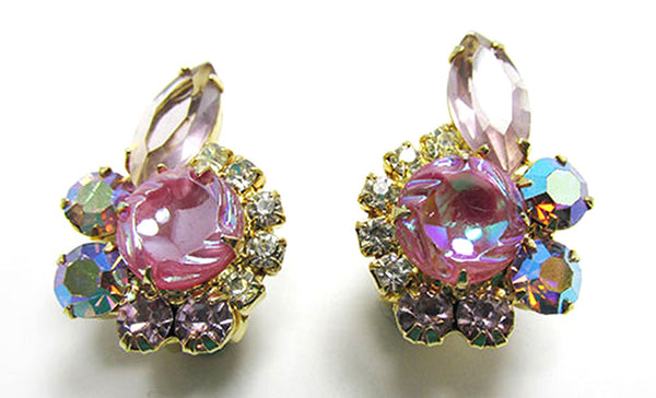 Vintage Jewelry 1950s Mid-Century Diamante Floral Pin and Earrings Set - Earrings