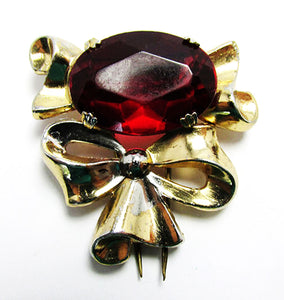 Coro Vintage Retro 1940s Amazing Ruby Red Bow Fur Clip