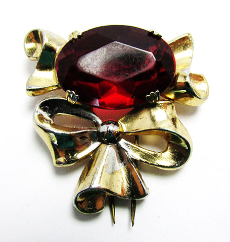 Coro Vintage 1940s Designer Jewelry Ruby Red Diamante Bow Fur Clip - Front
