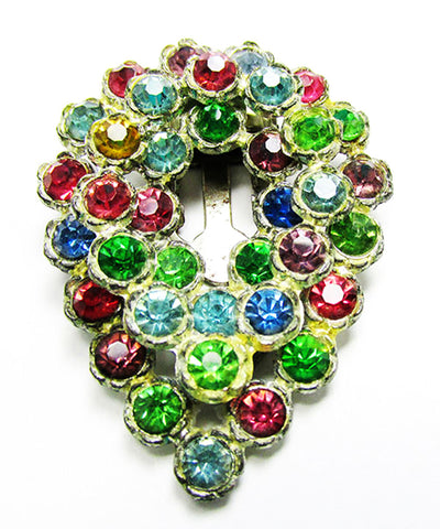 Vintage Costume Jewelry 1930s Art Deco Multi-Colored Dress Clip - Front