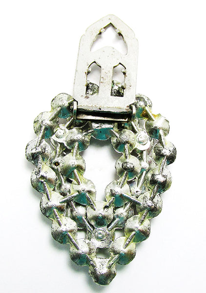 Vintage Costume Jewelry 1930s Art Deco Multi-Colored Dress Clip - Back