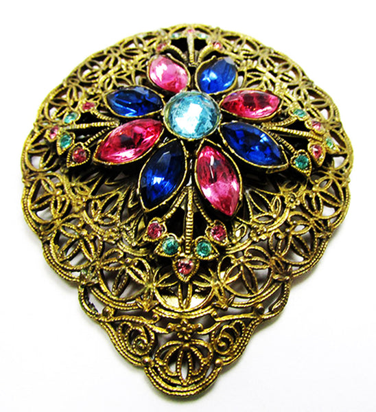 Vintage 1930s Jewelry Art Deco Multi-Color Diamante Dress Clip - Front