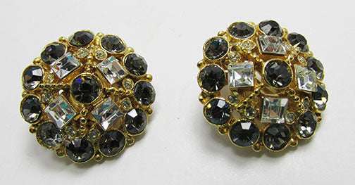 Vintage 1950s Gorgeous Rhinestone Floral Button Earrings