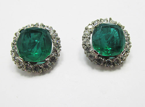 Vintage 1960s Emerald and Clear Geometric Glamour Earrings