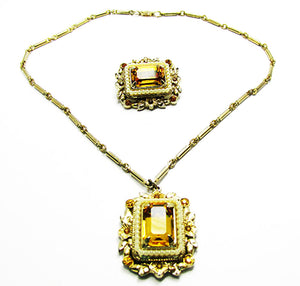 Coro 1950s Designer Vintage Jewelry Citrine Diamante Pin and Necklace - Front
