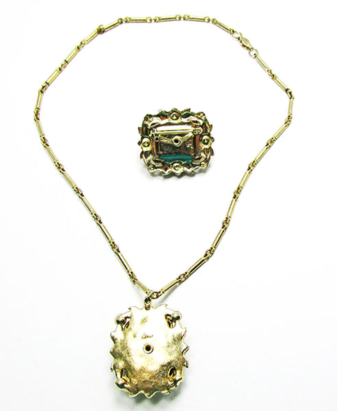 Coro 1950s Designer Vintage Jewelry Citrine Diamante Pin and Necklace - Back