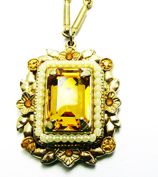 Coro 1950s Designer Vintage Jewelry Citrine Diamante Pin and Necklace - Centerpiece