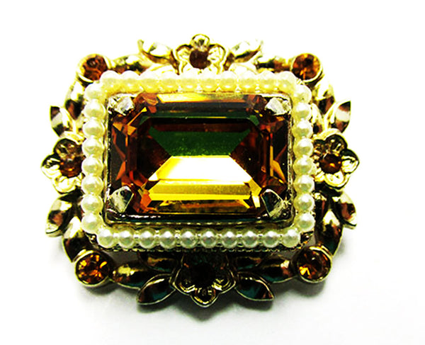 Coro 1950s Designer Vintage Jewelry Citrine Diamante Pin and Necklace - Pin