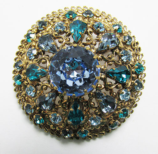 Made in Austria Vintage Mid Century Dazzling Sapphire and Teal Pin