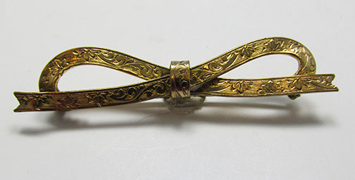 Vintage Retro 1920s Minimalist Gold Engraved Floral Ribbon Bow Pin