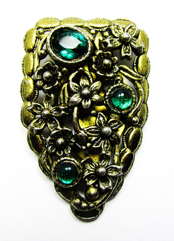 Vintage Art Nouveau 1920s Retro Emerald Rhinestone Brass Dress Clip