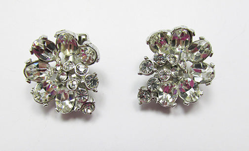 Hollycraft Vintage 1950s Stunning Floral Rhinestone Button Earrings