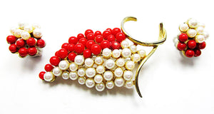 Vintage Elegant 1950s Pearl and Coral Grape Pin and Earrings Set