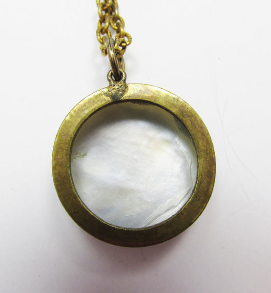 Vintage 1940s Striking Mother of Pearl Cameo Necklace
