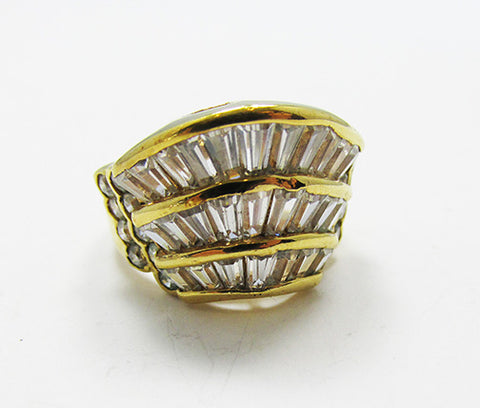 Vintage 1980s Distinctive Contemporary Vermeil Sterling Fashion Ring