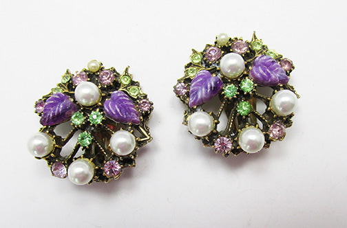 Vintage 1950s Dazzling Rhinestone and Pearl Floral Button Earrings