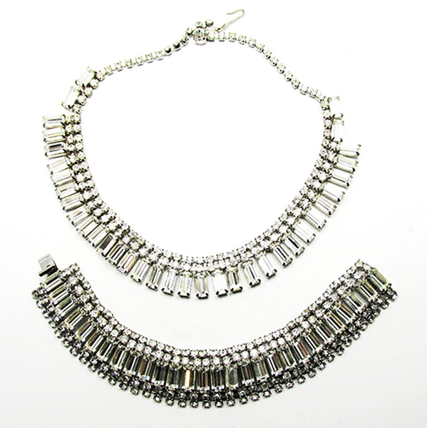 Vintage 1950s Jewelry Sophisticated Diamante Necklace and Bracelet Set - Front