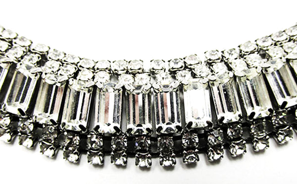 Vintage 1950s Jewelry Sophisticated Diamante Necklace and Bracelet Set - Bracelet Close Up