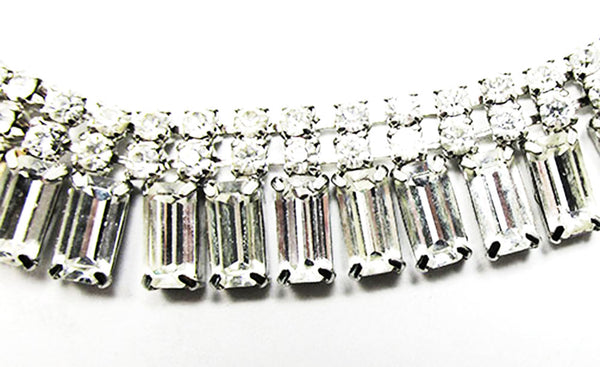 Vintage 1950s Jewelry Sophisticated Diamante Necklace and Bracelet Set - Necklace Close Up