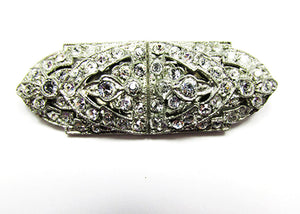 1930s Vintage Costume Jewelry Distinctive Art Deco Diamante Duette - Front