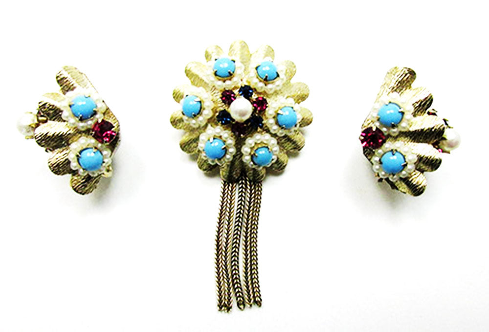 Vintage Mid Century 1950s Distinctive Avant-Garde Pin and Earrings Set
