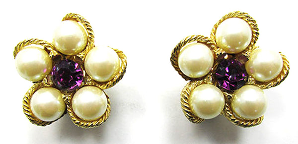 Weiss Vintage Jewelry 1960s Retro Diamante and Pearl Floral Earrings - Front