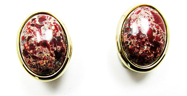 Vintage Striking Retro Natural Gemstone Pin and Button Earrings Set