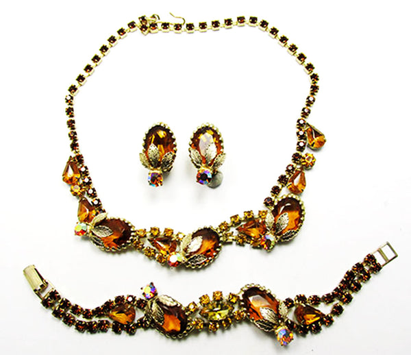 Vintage 1950s Extraordinary Floral Necklace, Earrings, and Bracelet Set
