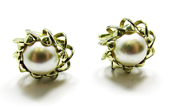 Vintage 1960s Men's Jewelry Mid-Century Pearl Cabochon Cufflinks - Front