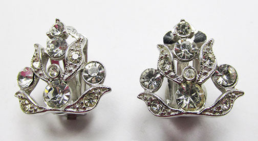 Charel Rare Vintage 1950s Rhinestone Floral Button Earrings