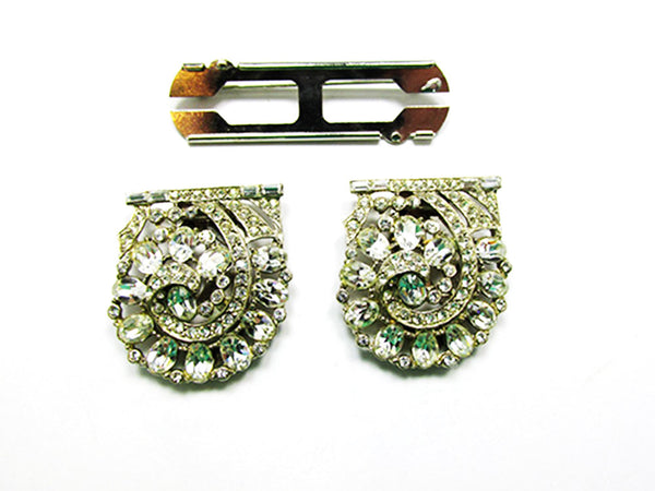 1930s Vintage Jewelry Magnificent Art Deco Floral Diamante Duette - Frame and Clips