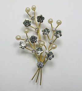 Vintage 1950s Delicate Rhinestone and Pearl Floral Spray Pin
