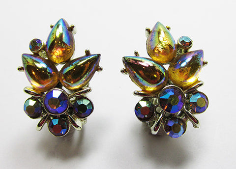 Star Vintage Mid-Century Eye-Catching Dainty Floral Button Earrings