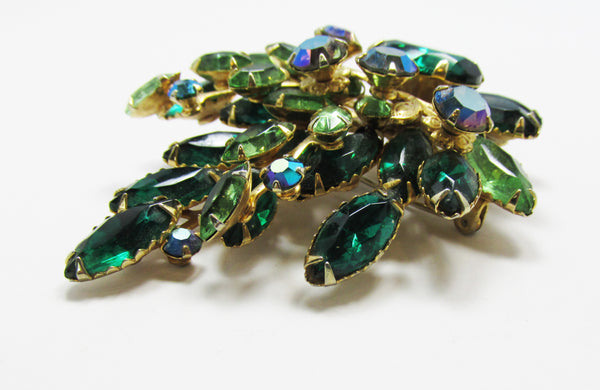 Vintage 1950s Striking Emerald and Peridot Rhinestone Floral Pin