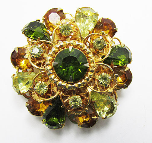 Amazing Vintage Mid Century Two Tiered Floral Rhinestone Pin