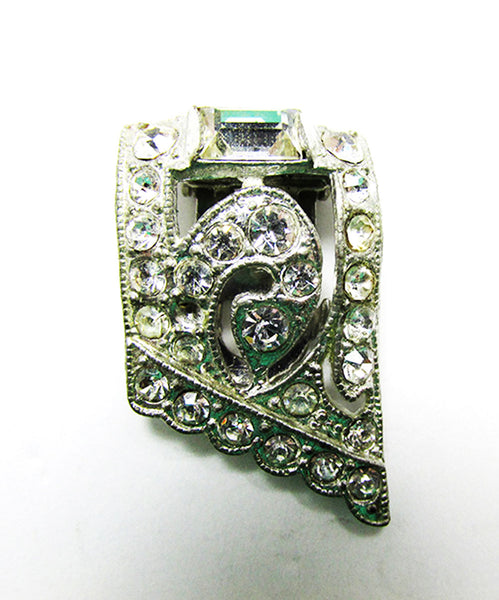 Vintage 1930s Costume Jewelry Delicate Art Deco Geometric Dress Clip - Front