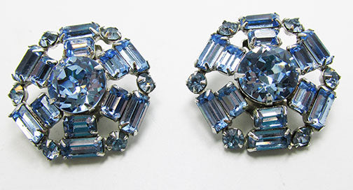 Stunning Vintage 1950s Mid-Century Sapphire Geometric Button Earrings
